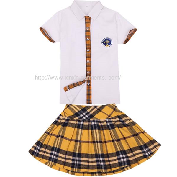 Guangzhou Factory Custom Made Cheap Cotton Shirts and Skirts for School Girls Student Wear (U19)