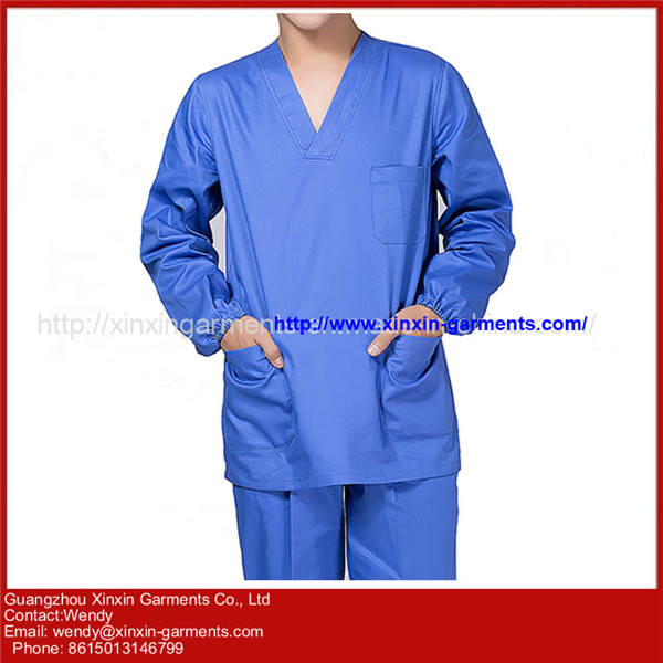 Classic Professional Blue Hospital Nursing Medical Scrubs Uniforms H51-1