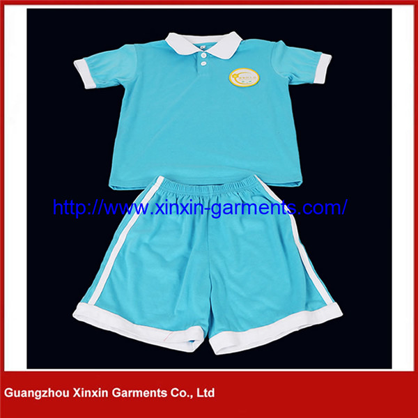 Customized Short Sleeve Cotton Pique School Clothes for Boys and Girls (U99)