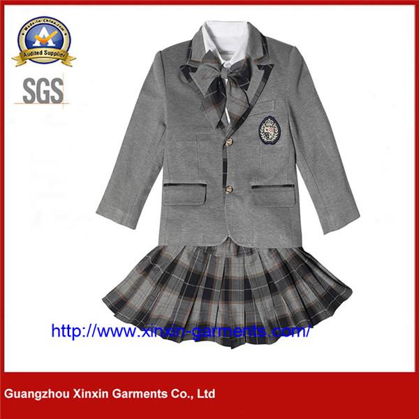 Girls' College Wind Pleated Skirt Set Navy Blue School Uniform Offical Shirt (U177)