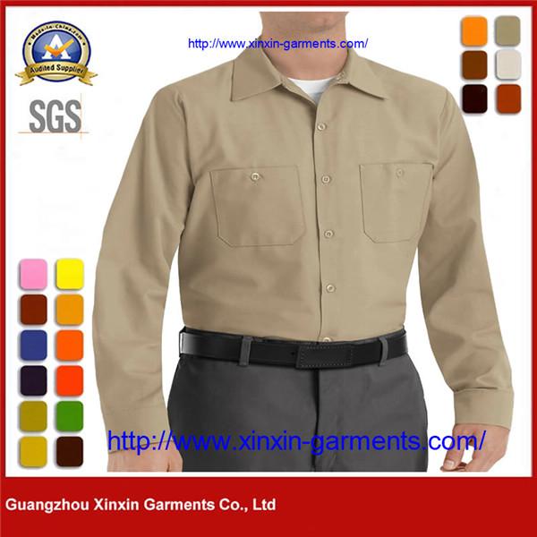 Khaki Poly cotton Long Sleeve Button Up Corporate Uniform Shirt W2613