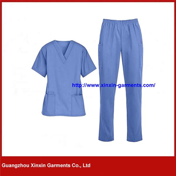 Light Blue Ladies Nurse Uniform Hospital Medical Scrubs Wholesale (H130)