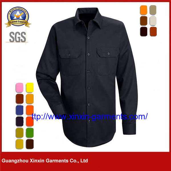 Navy Blue L/S Long Sleeve 100% Cotton Closed Front Work Shirts for men W2570