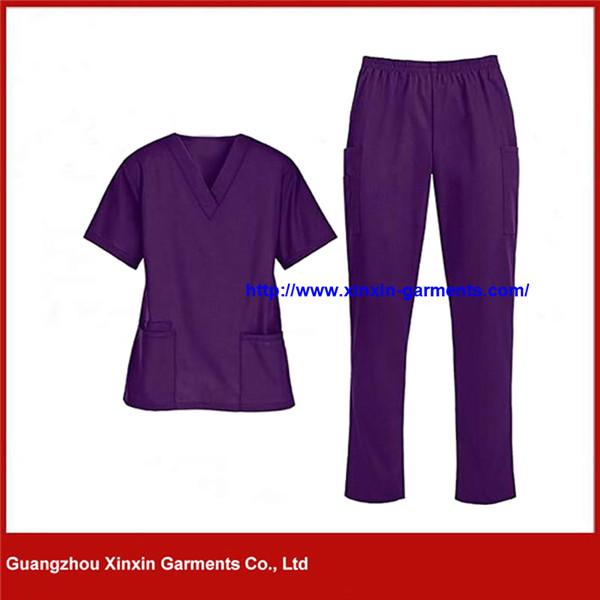 Purple Color Polyester Cotton Nurse Scrub (H130)