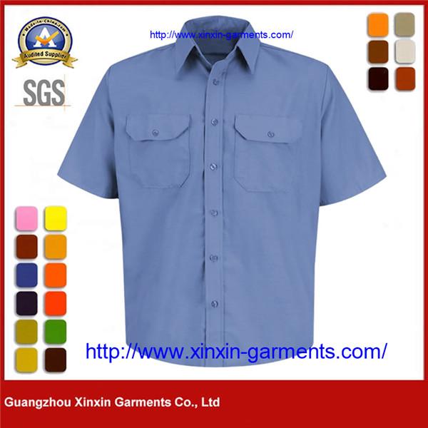 Security Uniform Epaulette Blue Polyester Cotton Work Shirt - Short Sleeve W2716