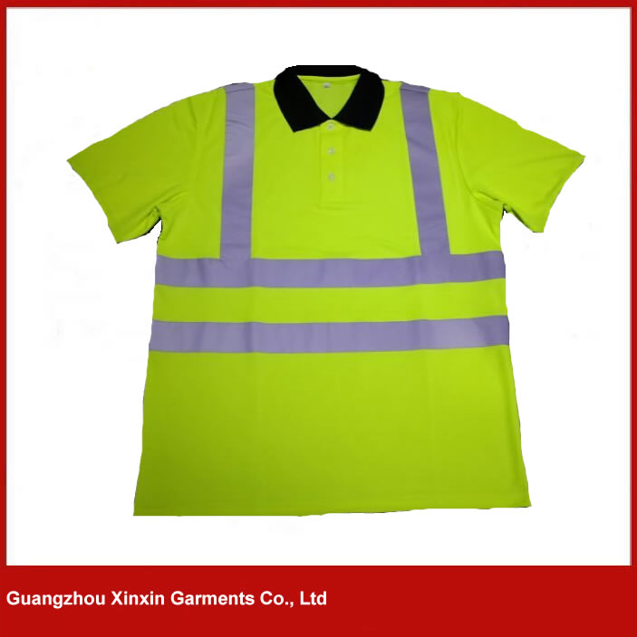 Customized Safety Reflective Hi Vis Yellow Work Polo T Shirt Uniform Design for Men  W43