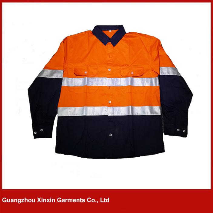 cutsom made hi vis navy blue reflective tape shirt wholesale W34