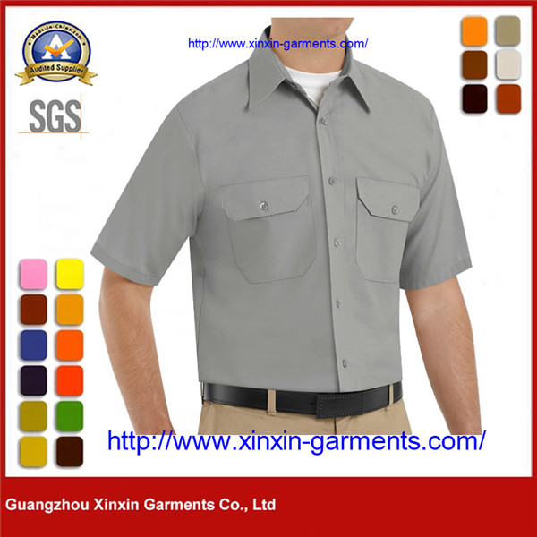 Custom Grey Button Front Short Sleeve Cotton Drill Work Shirts W2629