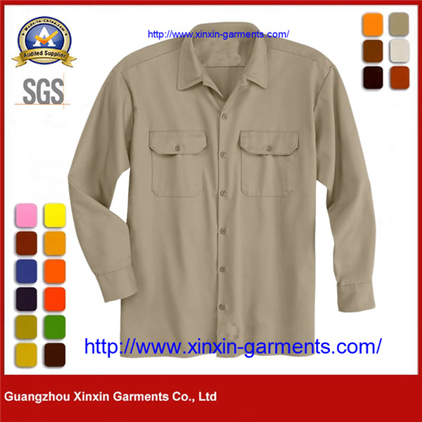 Uniform Style Mens Khaki Long Sleeve Military Combat Shirt W2678