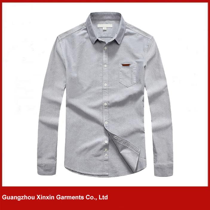 Wholesale men good quality 100% cotton grey oxford shirts (S75)