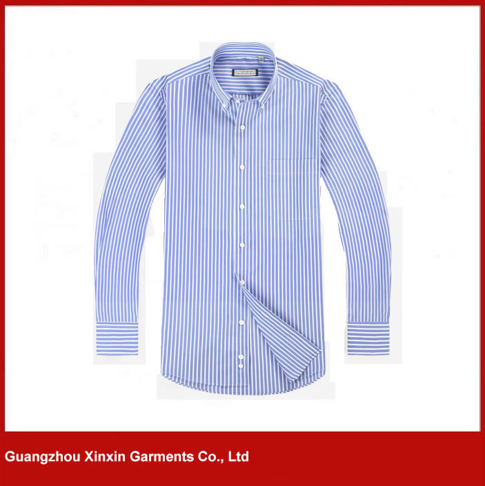 Blue and white stripe italy slim fit stylish casual shirts (S77)